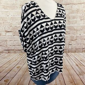 Lush cold shoulder loose Aztec blouse